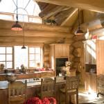 Salle à manger  maison en rondin de bois de luxe