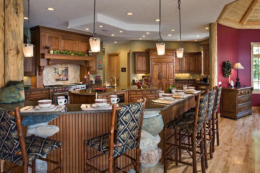 Superbe maison en bois de luxe de 490m for Cuisine luxe bois