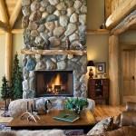 Salon maison en rondin de bois