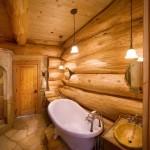 Salle de bain de luxe maison en bois