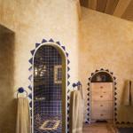 Salle de bain maison en rondin de bois
