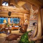 Salon maison en rondin de bois empilés de luxe