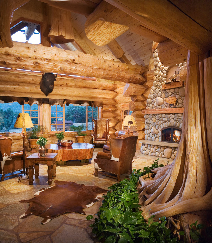 salon maison en rondin de bois empils de luxe - Prix Construction Maison En Rondin De Bois